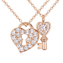 New Romantic Couple Necklace Gold Color Lock Key Pendant Crystal Necklace for Lovers Jewelry Crystals from Austria