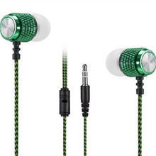 2016 new Rani resistant Long braided wire MP3 earphone ear earbud headset phone computer Universal Subwoofer