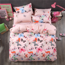 HOT Sale Fashion Luxury 3D Butterflies Cartoon Printing Double  Pattern Bedding sets include Duvet cover Flat  sheet Pillowcase