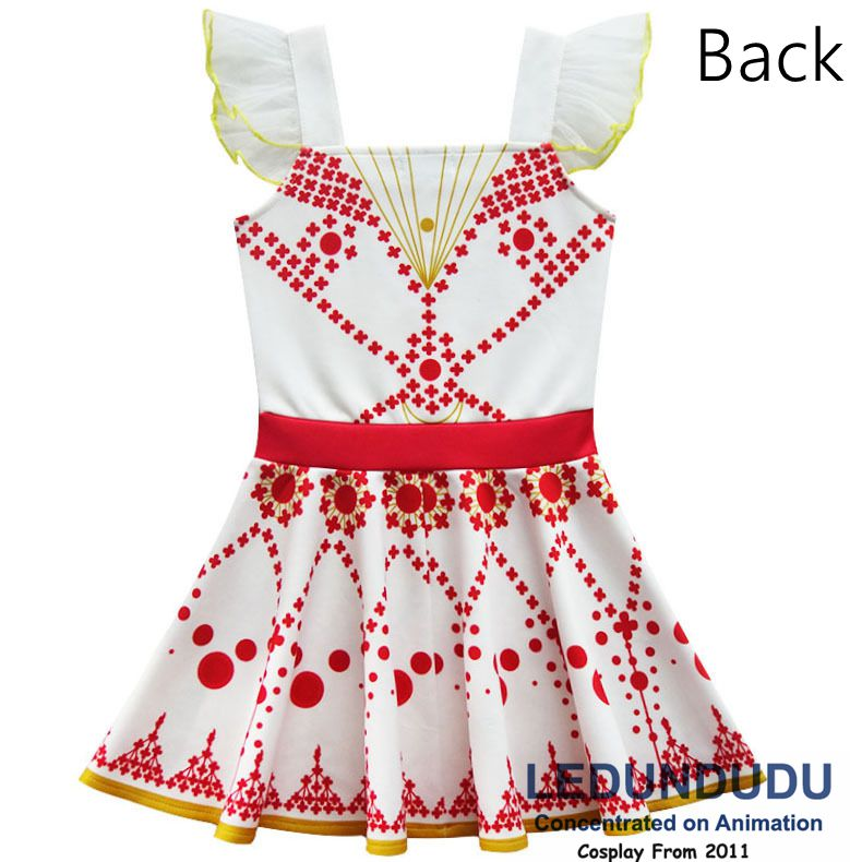 Children\`s White Print Dress Movie Ballerina Cosplay Costume Kid Baby Girl Sleeveless Dress 2 (1)