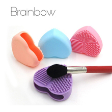 Brainbow 1pc Heart Shape Silicone Makeup Brush Cleaner Wash Brush Silica Glove Scrubber Board for Cosmetic Make UP Cleaning Tool
