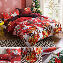 New 3D Santa Claus Bedding Set Colorful Christmas Duvet Cover Sets Bed Sheets Pillowcases Queen Size Bedroom Textile Jogo de Cam