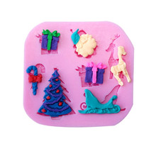 Christmas Santa Sleigh Gift Modeling Xmas Cake Decoration Fondant Chocolate Cookie Soap Silicone Mold Food Grade Silicone Mould(China)