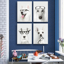 HD Oil Painting Glasses & Dogs Decoration Painting  Home Decor On Canvas Modern Wall Art Canvas Print Poster Canvas Painting