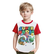 Children Super Mario Printing Clothes Boy Girl Cartoon Mario Brother T Shirt Kids Cotton T-shirt Baby Tshirt Summer Tee Tops