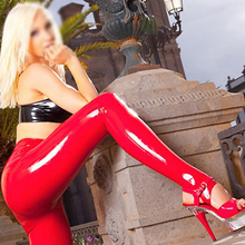 Buy Red Latex stirrup leggings Latex Rubber pantyhose Latex heels trousers