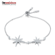 LZESHINE S925 Silver Stars Charm Bracelets For Women Fashion Chain Link Bracelet Party Brand Jewelry Friendship Bracelets(China)