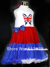 4TH July Red White Blue One Piece British Butterfly Party Petti Dress 1-8Year MAAS010