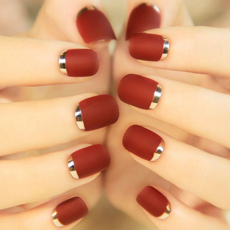 Красный Маникюр С Геометрическим Дизайном