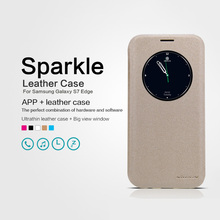 Original NILLKIN Sparkle Luxury Flip Leather with Smart View Window Back Cover Phone Case for Samsung Galaxy S7 Edge Funda(China)