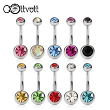 10pcs/set Bell Button Rings Double Head CZ Crystals Navel Piercing Belly Screw Barbell Spiral Bar Steel Bijou Body Jewelry DQ58(China)