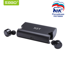 Sago X1T/X2T mini wireless earphone noise canceling headphone bluetooth headset with 1500mAh power bank box for iphone 8/android(China)