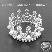Free shipping DollyBling 5 PC kid mini circle pearl crystal rhinestone comb crown tiara for Patriotic Day(MC-4009)