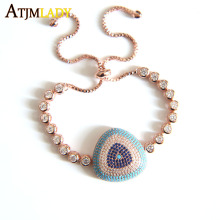 New Arrival Genuine rose gold color Luxury Round Blue Eyes Clear Cubic Zircon Crystal Tennis Bracelet Jewelry 2017 new