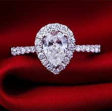 2CT  Vintage Pear Shape C&C Certified Moissanite Women Pure 18K White Gold Ring Promise Propose Fine Gold Jewelry For Valentine