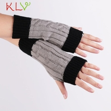Winter 2015 grey Knitted Fringe Warm Lovers Gloves lady women Arm Warmer Cold weather necessities