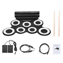 Good Electronic Drum Set Portable Digital Stereo 7 Silicon Pads USB Powered Built-in Speaker with Drumsticks for Beginners(China)