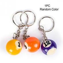 Mini Billiards Shaped Keyring Assorted Colorful Billiards Pool Small Ball Keychain Hanging Decorations(China)