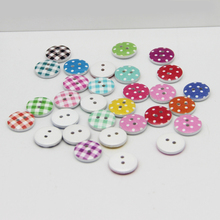 50Pcs/lot 15mm Round wooden ButtonsMini Tiny Buttons Sewing Tools Decorative Button Scrapbooking Garment DIY Apparel Accessories