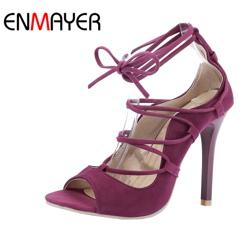 ENMAYER Black Red Flock High Heels Peep Toe Lace-Up Ankle Strap Rome Shoes Women Thin Heels Casual Dress Sandals Size34-43<br>