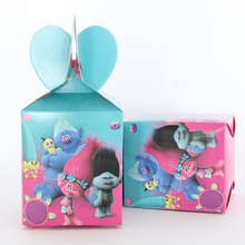6pcs/lot Troll theme Cartoon paper bags baby shower souvenirs gift candy boxs birthday party decorations