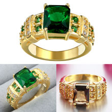 Wholesale Womens Ladies Girls Princess Cut Green Emerald Brown Crystal Stone Fashion Jewelry Yellow Gold Plated Wedding Ring