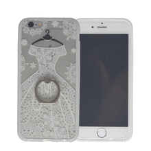 Hot VS Secret Lace Wedding Dress Printed Hard Cover Case For iPhone 5 5S SE 6 6S Plus Ring Holder Silicon Bumper With Neck Strap