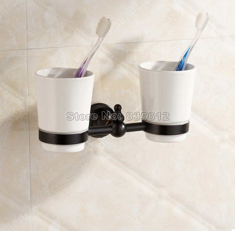 Bathroom Accessory Black Oil Rubbed Bronze Toothbrush Holder Set+ Two Ceramic Cups Wall Mounted Wba828<br><br>Aliexpress