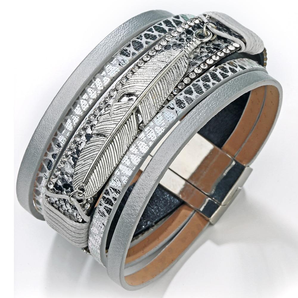 19 Fashion Alloy Feather Leaf Wide Magnetic Leather Bracelets & Bangles Multilayer Wrap Bracelets for Women Men Jewelry 17