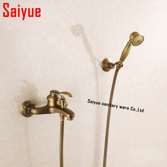 In wall Bathroom bath &amp; Shower Faucet Sets Bath Faucet Hand Shower Head With Hose Wall Mounted Antique Brass Copper<br><br>Aliexpress