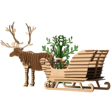 DIY Gifts Christmas Ornaments Tree Deer Snow Sled Toys for Children 3D Puzzle Reindeer Sledge Model Decoration Xmas Kids Present