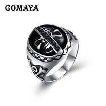 GOMAYA Titanium Steel Simple Ring Wholesale Top Quality Men Ring Fashion Jewelry Bague Punk Rock Vintage(China)