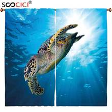 Window Curtains Treatments 2 Panels,Turtle Hawksbill Sea Turtle Dive Deep Into the Blue Ocean Against Sun Rays Yellow Brown Aqua