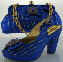 Blue Italian Shoe with Matching Bag Heel Height 10cm 38-42 African Shoe and Bag Set for Wedding Women Shoes and Bag To Match