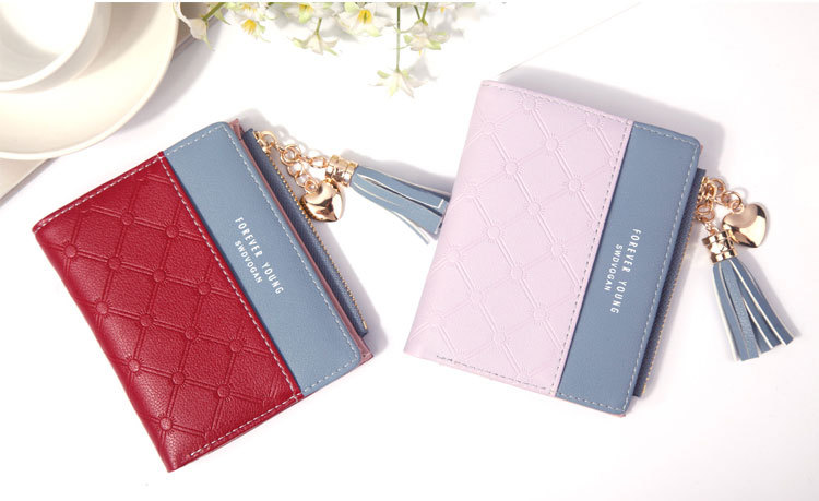 2018 Fashion Ladies Wallet Female Short Zipper Coin Purse Small Wallets Young Womens Tassel Hasp Purses Button Card Holder Pouch 65