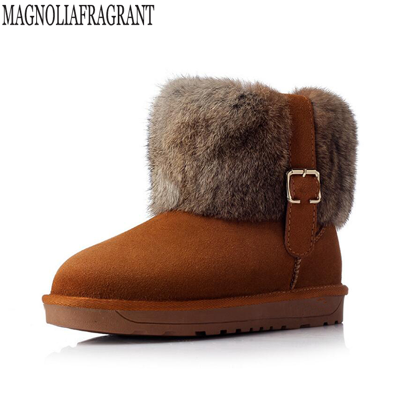 new Leather Shoes Women Boots Solid Slip-On Soft Cute Women Snow Boots Round Toe Flat with Winter Rabbit hair Ankle Boots k414<br>