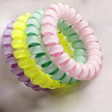 5PCS Candy Color Telephone Wire Line Elasticity Rubber Band Elastic Hairbands Hair Rope For Gils Scrunchy Headbands Gum Spring