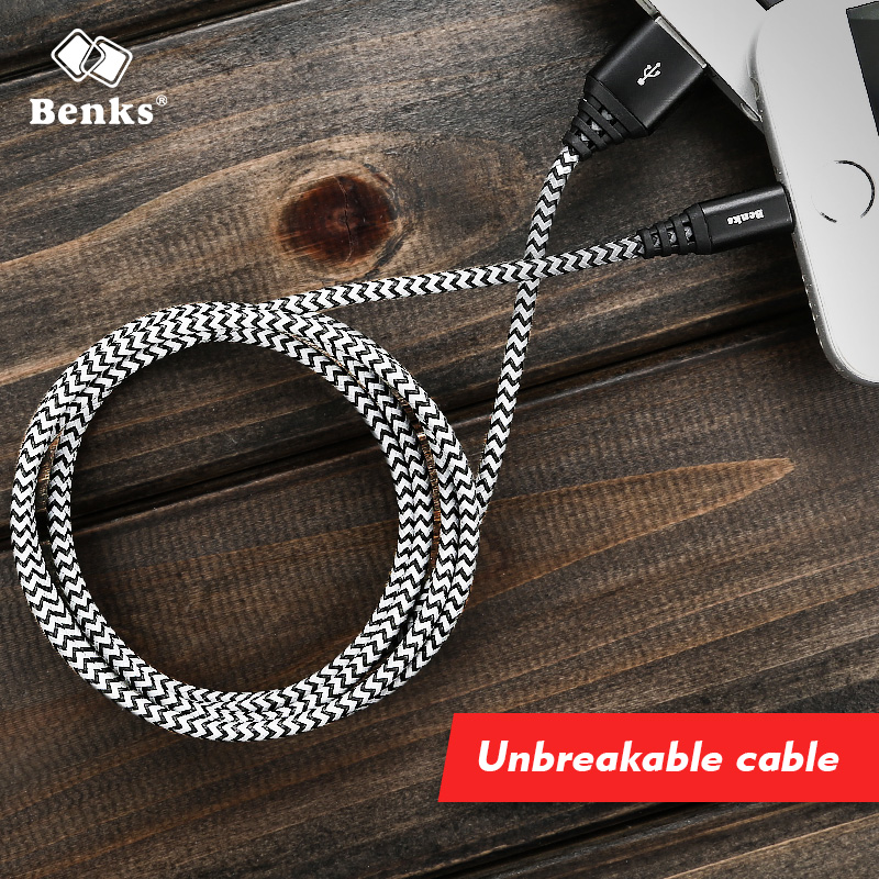 Benks unbreakable Nylon + Aluminium Alloy Usb lightning Cable 1.2M/1.8M Length USB Data Fast Charging Charger Cable black(China)