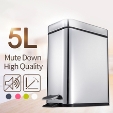 ANHO 5L Rectangle Bins Stainless Steel Rubbish Can Foot Pedal Type Dustbin Bathroom Trash Can Kitchen Waste Bin(China)