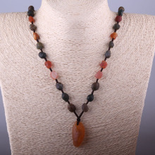 New Fashion Jewelry Long Knot Beads Halsband Multi Gobi Agat Necklace(China)