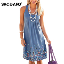 Buy SAGUARO Summer Dress Female Beach Dress Vestido Sexy Sleeveless Floral Printed Boho Dresses Women Mini Party Dress Plus Size for $9.45 in AliExpress store