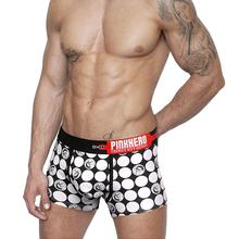 PINK HERO Sexy Underwear Boxer Men's Cotton Underpants Dot Black,Red boxer shorts underwear for men ropa interior hombre #JD