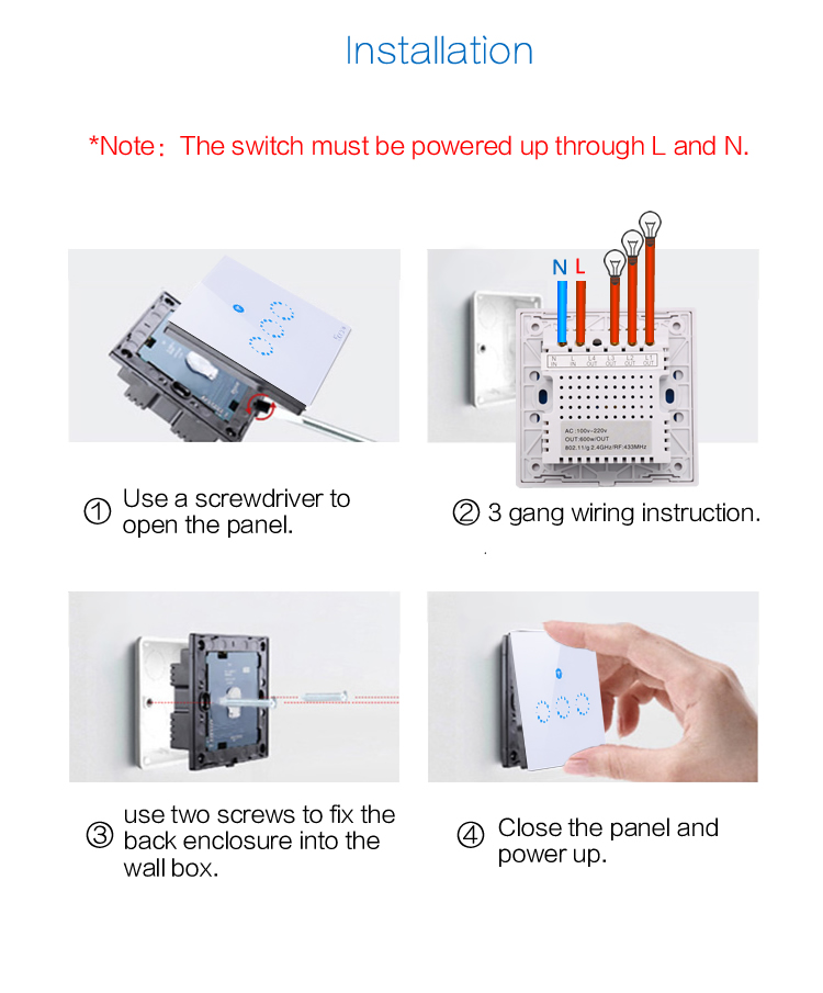 Sonoff T1 UK Panel 1/2/3 Gang Smart Wall Touch Light Switch 1C/2C/3C WiFi / RF/APP 86 Type Remote Control Switch Smart Home Auto