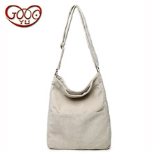 New casual ladies bucket crescent bag canvas solid color large capacity Shoulder Messenger Bag(China)