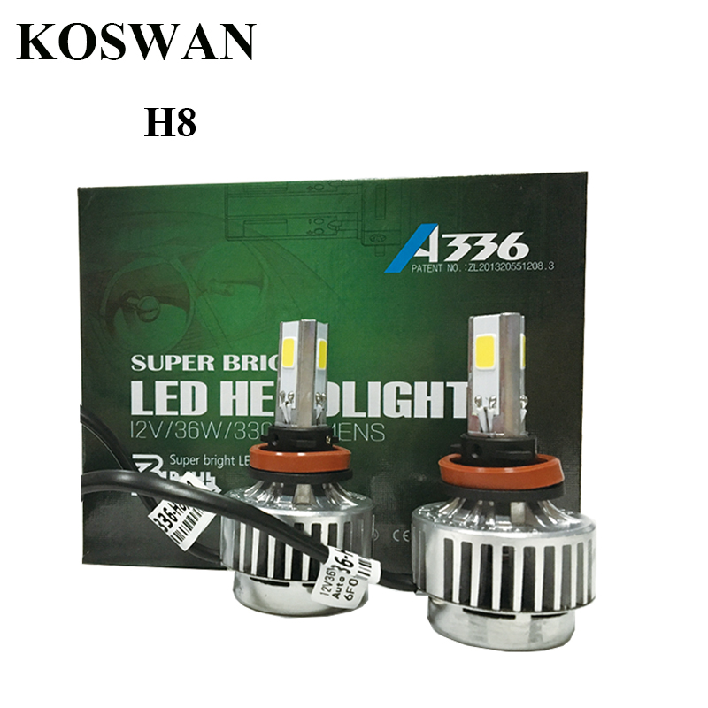 A336 Series All In One H8 Car LED Headlight Bulb H8 33W 3300LM LED Headlight Bulb 6000K  White COB LED Headlamp Bulb Lamp Light<br><br>Aliexpress