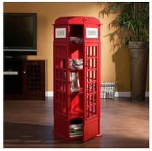 Indoor UK telephone booth book cabinet CD rack living room decoration Wood Locker home decoration