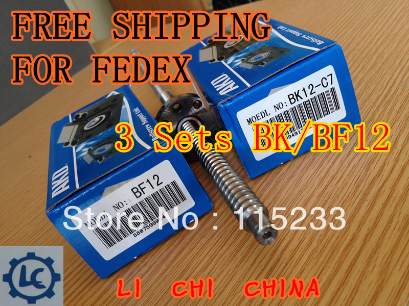 FREE SHIPPING FOR FEDEX 3pc BK12 and 3pc BF12 Ball Screw SFU1605 support<br><br>Aliexpress