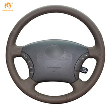 Mewant Dark Brown Genuine Leather Steering Wheel Cover for Old Toyota Land Cruiser Prado 120