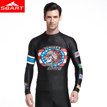 SBART sports swimsuit Rash Guards Beach men pattern Long-sleeved Sun Protection One-piece Wetsuit Swim Shirts Surf T-shirt