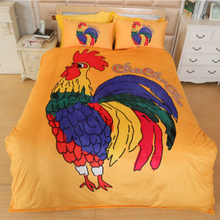 Simple Fashion Yellow/Blue Cartoon Cock/Chicken Pattern Duvet Cover Sheet Set 100% Sanding Cotton Reactive Printing Bedding Sets(China)
